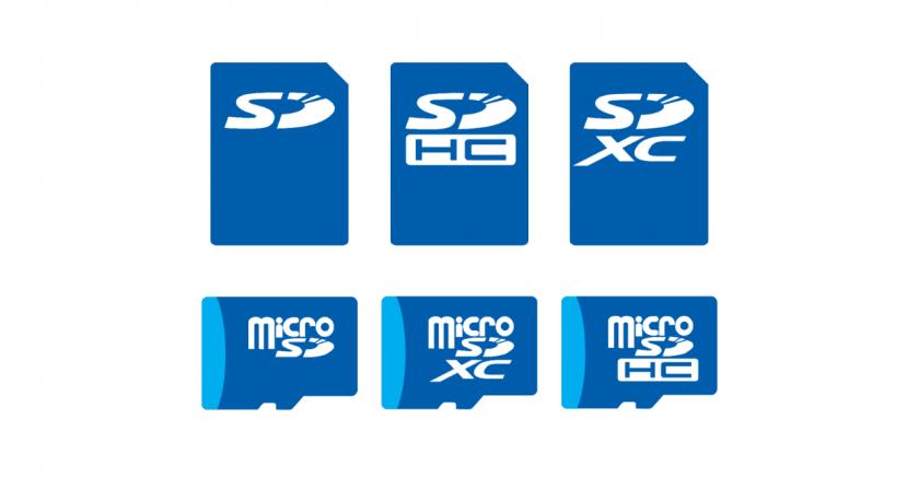 SD カード、SDHC カード、SDXC カードのイメージ。