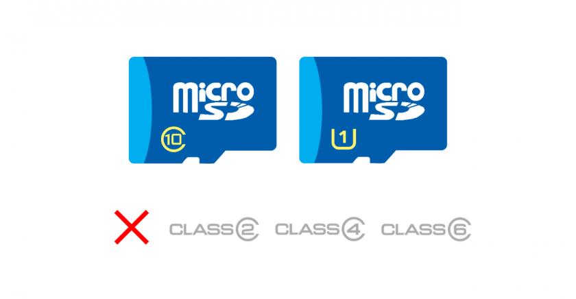 UHS CLASS 1 と CLASS 10 が示された microSD カードのイメージ。