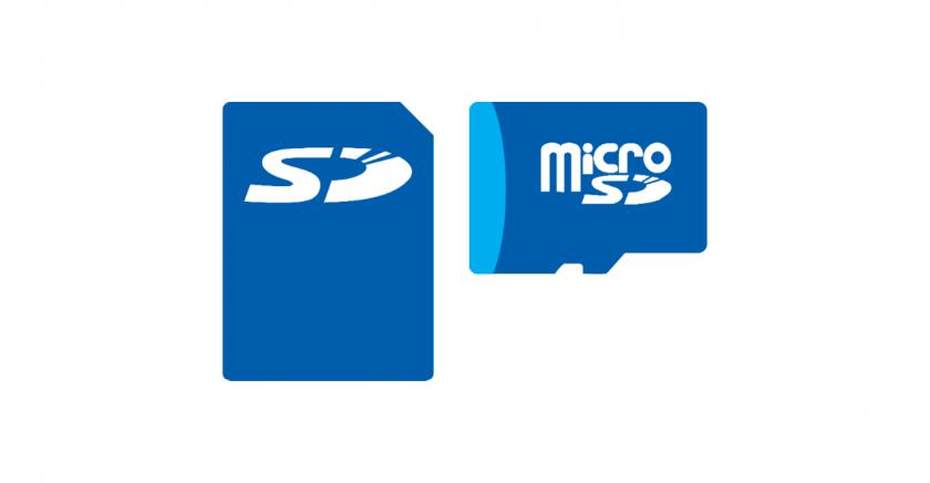 SD カードと microSD カードのイメージ。