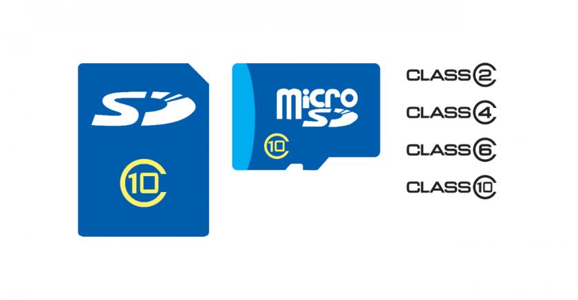 CLASS が示された SD カードと microSD カードのイメージ。