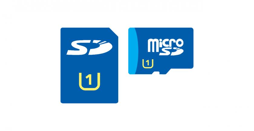 UHS CLASS が示された SD カードと microSD カードのイメージ。
